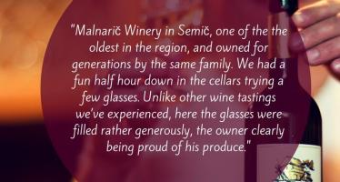 Tasting Full Glasses of Wine at the Malnarič Cellar
