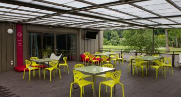 BB Kolpa River Reception Terrace with Yellow Chairs