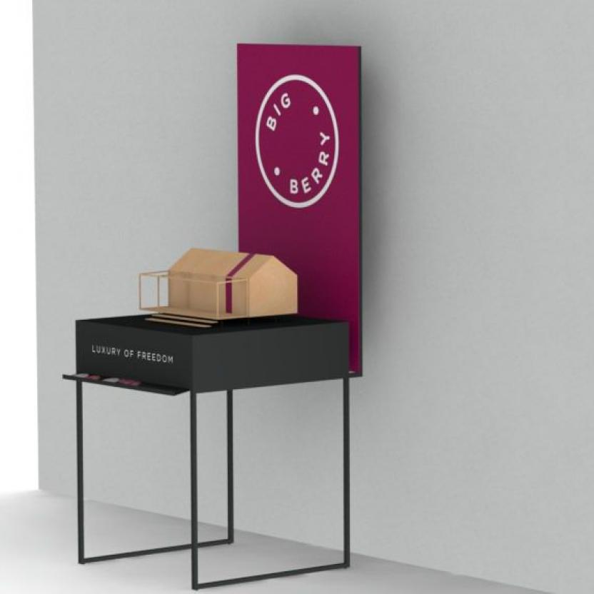 BB Mini House With Logo on a Stand